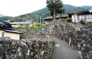 大当集落の石垣群。急斜面に迷路のように続く(朝日新聞)