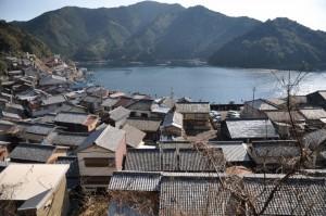高台から見た須賀利町。海岸線に沿って家がひしめく(朝日新聞)